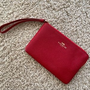 COACH Red and Gold Wristlet Card Slots 6 inches